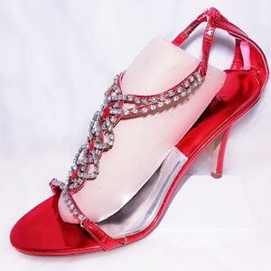 #21 Red Rhinestone Sandals Pageant Heel 9 Shoes